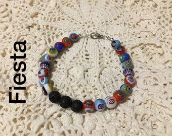 Floral bead bracelet, Cinco de Mayo jewelry, vacation jewelry, holiday bracelet