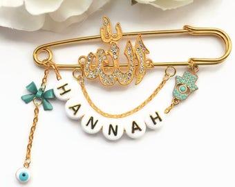 Personalised Allah Stroller Pin, Evil Eye Pin, Hamsa Hand, Muslim Baby Gift