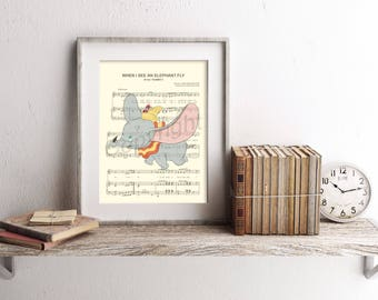 Dumbo Flying with Timothy Q. Mouse Sheet Music Art Print