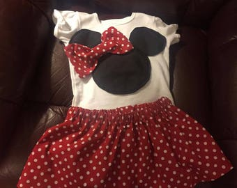 Mouse with bow on shirt and matching skirt