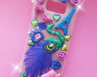 Handmade decoden luxury peacock phone case for Samsung galaxy 8 s edge