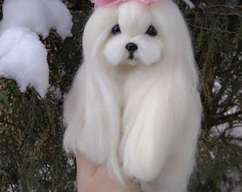 Needle felted Maltese puppy/dog