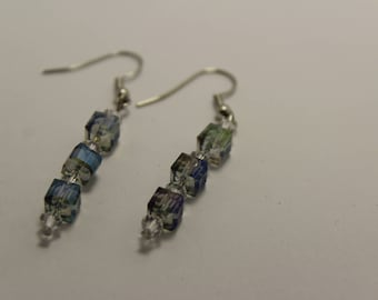 Square Glass and crystal earrings