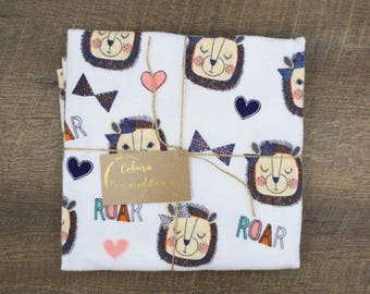 Large Receiving Blanket/Swaddle with Lion Roar Print