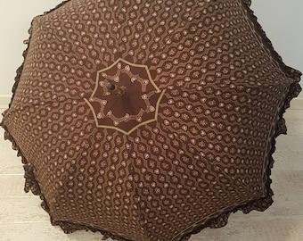 Vintage French cotton and wood handle parasol, Brown floral Umbrella Unique Umbrella Rain Or Sun Umbrella Vintage Parasol