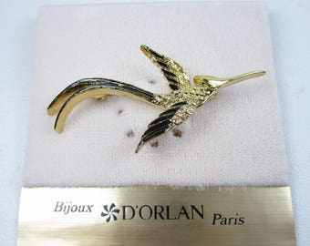 D'Orlan Gold Plated Bird Brooch with Black Enamel