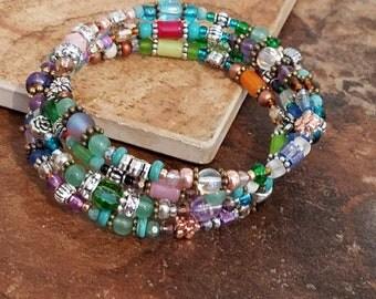 Spring flare Bohemian Princess coil wrap bracelet