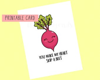 You Make My Heart Skip A Beet | Valentines Day Card, Anniversary Card, Funny Card, Puns Card, Puns, Love Card, Pun, Joke, Funny, Cute, Sweet