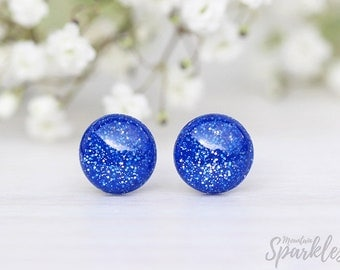 Blue glitter stud earrings, Simple Studs Blue, Indigo Blue Studs, Glitter Earrings, Sparkle Blue Earrings, Woman Gift, Girl Gift, Kids Gift