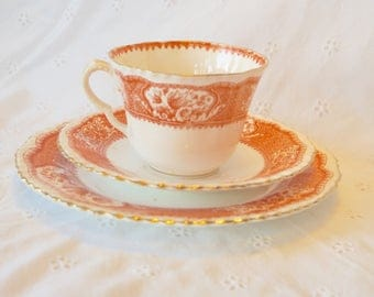 Vintage Staffordshire Teacup Trio, Bone china tea cup and plate trio