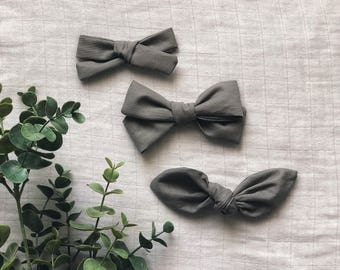 Grey Wet Cement Classic Hand Tied Bow Bubble Knot Bows Nylon or Clip