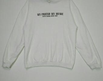 Vintage YAMAHA Onward My Friend My Music With Yamaha 1887 Sweatshirts White Shirt Medium