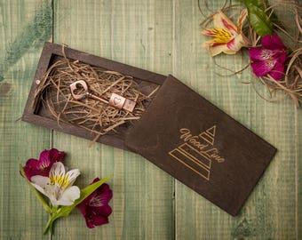 Customized, Wedding USB case, wedding case, wooden Wedding USB case, wedding case, wooden box, keepsake box, natural wood, Mementos gift