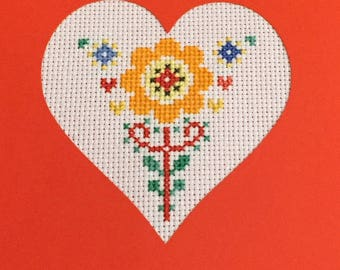 Orange flower Valentine card
