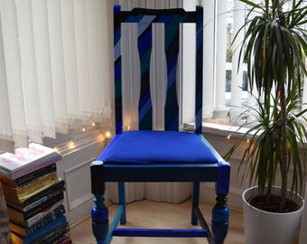 Hand-painted blue feature chair