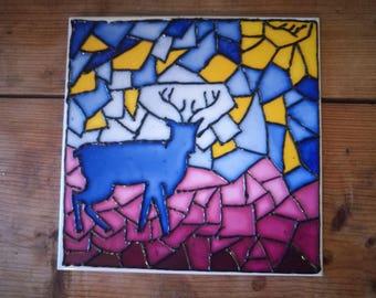 Hand decorated ceramic tile