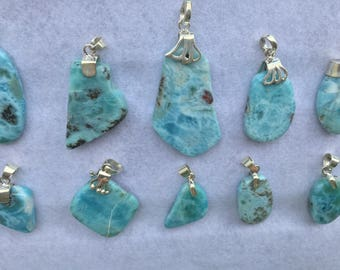 Larimar Pendant Handmade Natural Blue Larimar Gemstone 925 Sterling Silver Pendant Larimar Necklace Blue Larimar Jewelry Free Shipping jewel