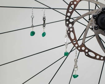 Bicycle Chain Link Stone Earrings (Turquoise or Green Crystal)