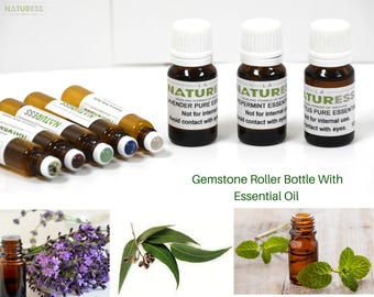 Essential Oil with Gemstones Roller Bottle