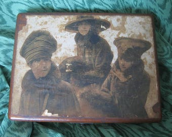 1920's wooden box with vintage collage.