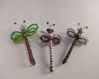Dragonfly Hair Clips- Set of 3