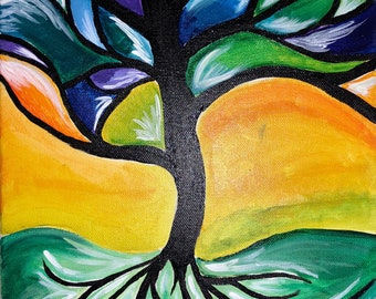 "Abstract Tree Painting 11x14"" Colorful Abstract Hand Painting- Wall Hanging- Wall Decor"