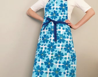 Apron Hand printed textiles Blue Flowers Spring flower
