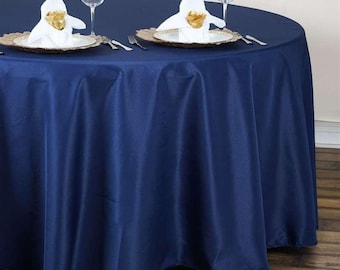 """120"""" Navy Blue Round Tablecloth"""