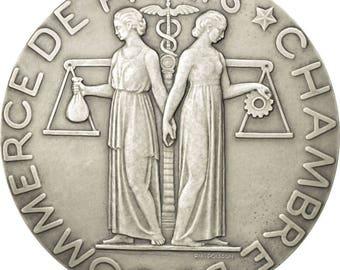 france medal chambre de commerce de paris 1937 poisson ms(63) silver