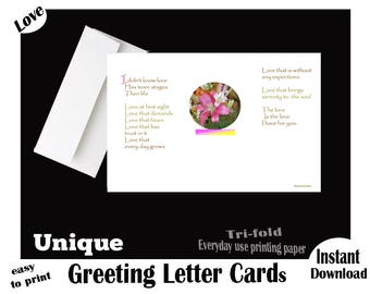 LOVE, Instant Download, Printable, Valentine's Day Greeting LETTER Card, Love Poem, Valentine's Day Poem, Digital, Unique Letter, easy Print