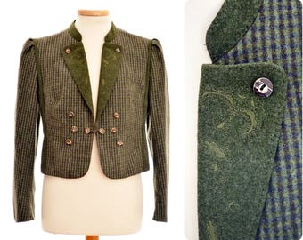 Austrian loden JACKET by Julius Lang / womens size D 44 / boiled wool / check pattern / hunting green / with antler buttons