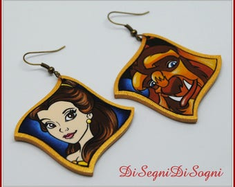 Beauty and The Beast earrings-hand Painted