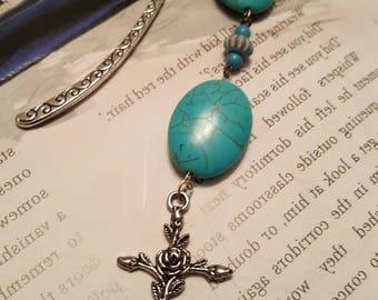 Turquoise Cross Beaded Bookmark