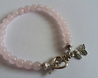 Gemstone Bracelet- Rose Pink Quartz Bracelet 6 mm beads, silver tone beads, heart toggle clasp and butterfly charm 19.5 cm