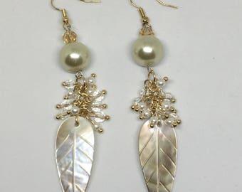 Pearl Feather Drop Earrings