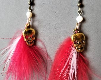 Bright Red Feathers with Brass Skull Earrings