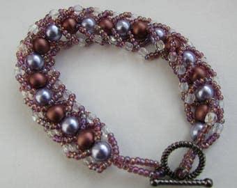 Lilac and Bronze Spiral Weave Bracelet