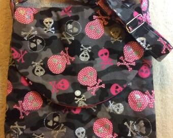 Pink Camo with Silver Skull and Crossbones Adjustable Shoulder Bag