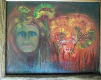 Poppygirl Original Oil Painting w/ Frame 11 x 14