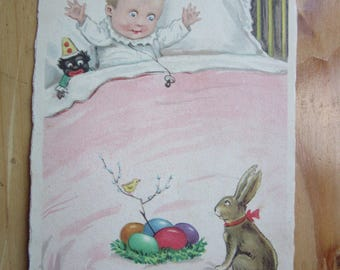 Happy EASTER  Greeting  Postcard with Kid and Bunny   1930ies