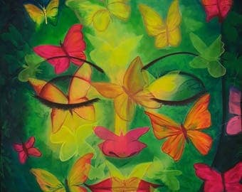 Butterfly peace of mind,Fluorescent painting Glow in dark, UV Glow, Blacklight Art,UV Glow painting,