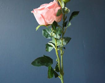 Silk pale pink rose spray - 50cm