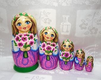 Russian nesting dolls, matryoshka babushka dolls, Wooden Nesting Dolls, Russian doll set, dolls in dolls, Russian folk art from the master.
