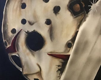 jason voorhees hockey mask friday the 13th goth gothic acrylic canvas painting