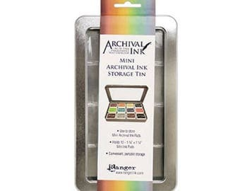 Archival Ink Pad Storage Tin - Holds 12 Ink Pads, Scrapbooking Storage & Organization, Art and Craft Supplies