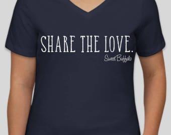 Navy Blue Share The Love V-Neck Shirt