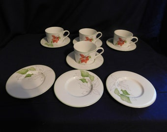 Block Spal Portugal Water Colors  Poinsettia Cup & Saucer sets - 4  + 3 saucers  1982-1998