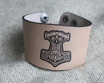 Thors hammer leather bracelet