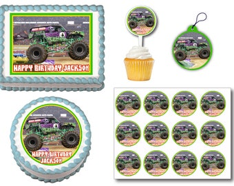 Grave Digger  Edible Cake Topper, Plastic Cupcake Picks, Gift Tags or Stickers
