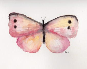 Pink Butterfly Original Watercolour painting card A6